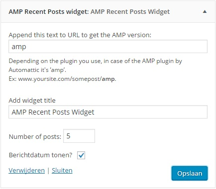 AMP Recent posts Widget